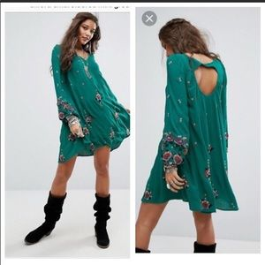 Free People Oxford Embroidered Mini Dress Green XS